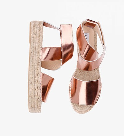 SHINY COPPER CALF Metallic Bold Sandal
