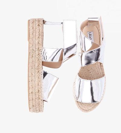 SHINY SILVER - CALF Metallic / Bold Sandal