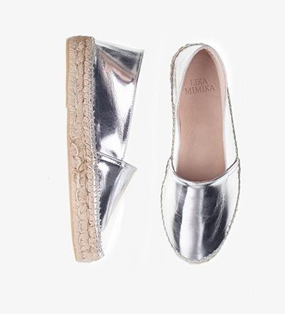 SHINY SILVER - Metallic Calf / Espadrilles