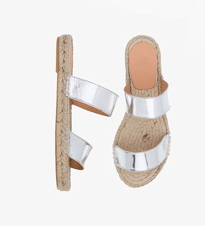 GLOSSY SILVER - Straight Sandal