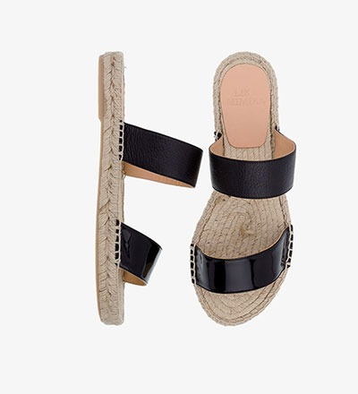 BLACK MATERIAL MIX - Straight Sandal