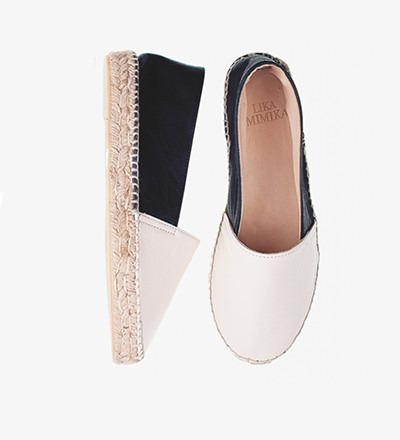 BLACK IVORY - Calf Leather / Espadrilles