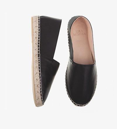 BLACK - Calf Leather / Espadrilles