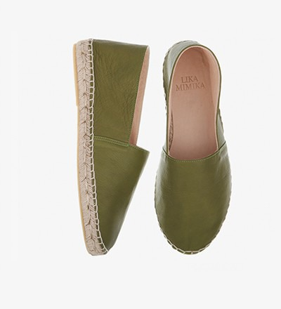 OLIVE GREEN - Calf Leather / Espadrilles