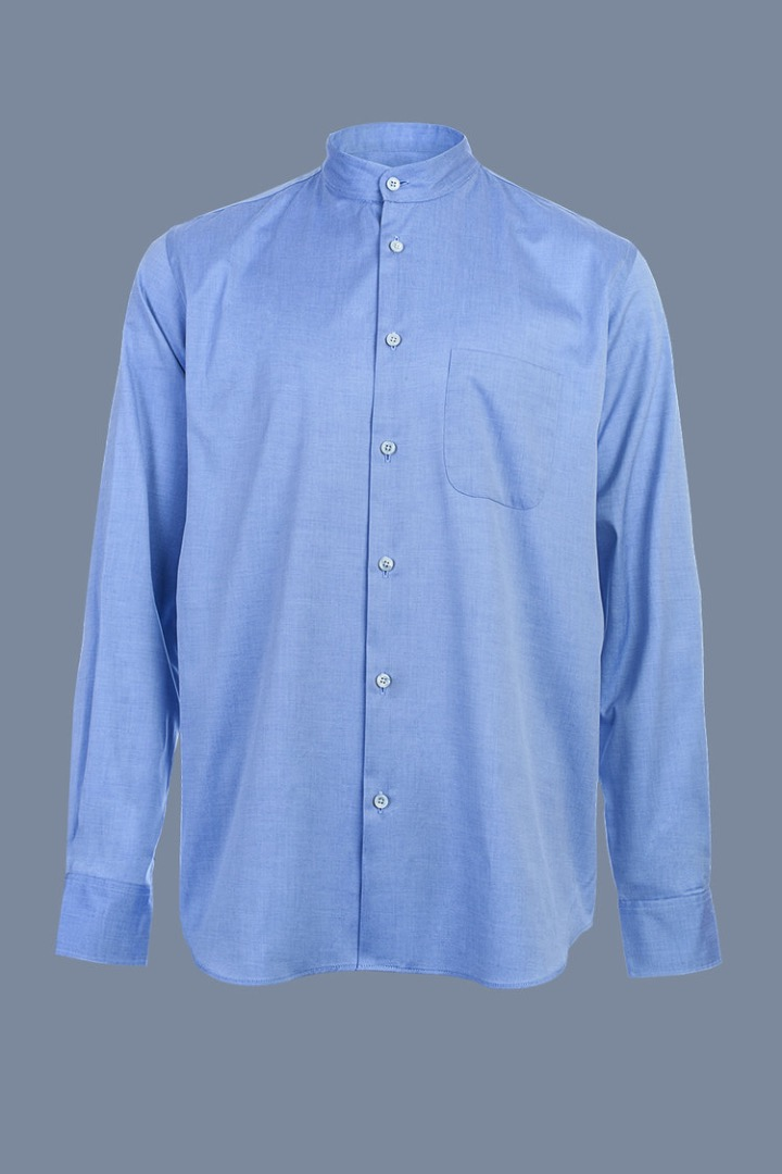 Mao Collar Shirt - Light Blue - 1