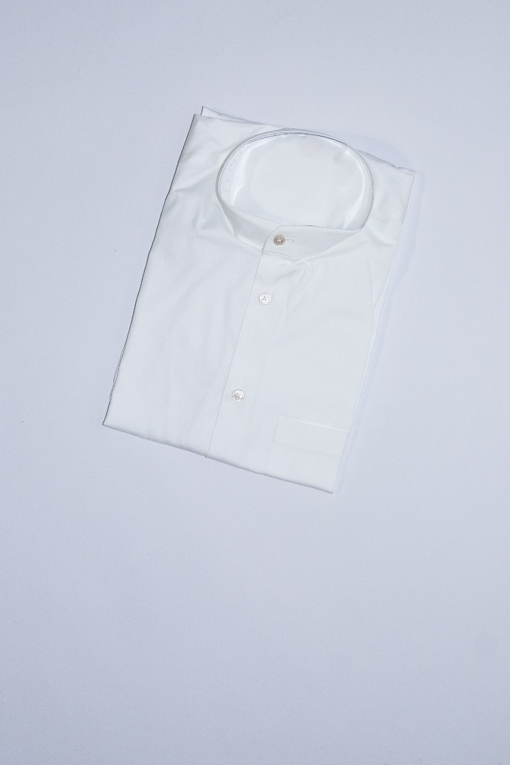 Mao Collar Shirt - White - 1