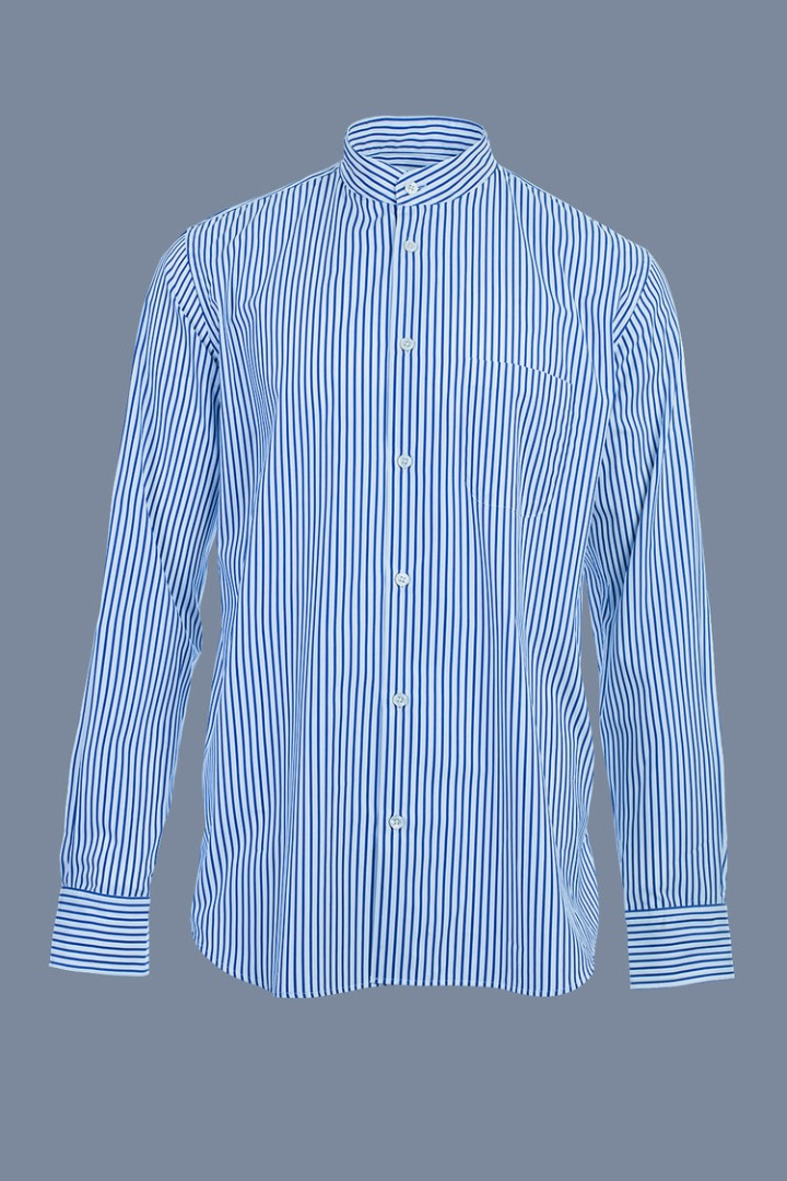 Mao Collar Shirt White Blue Stripes