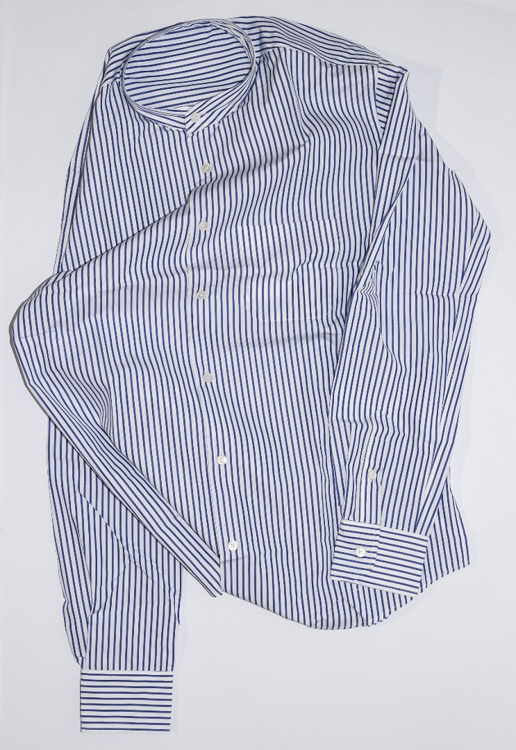 Mao Collar Shirt - White / Blue Stripes - 1