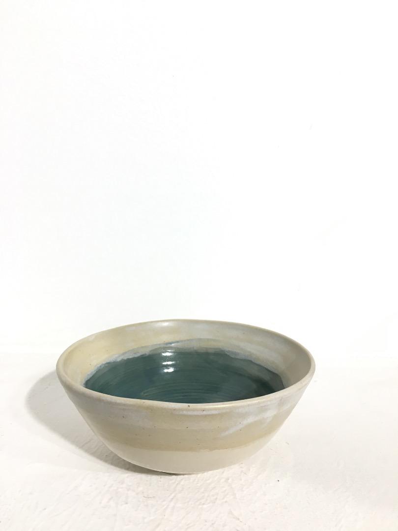 Bowl 14 cm - Cream / Teal - 1