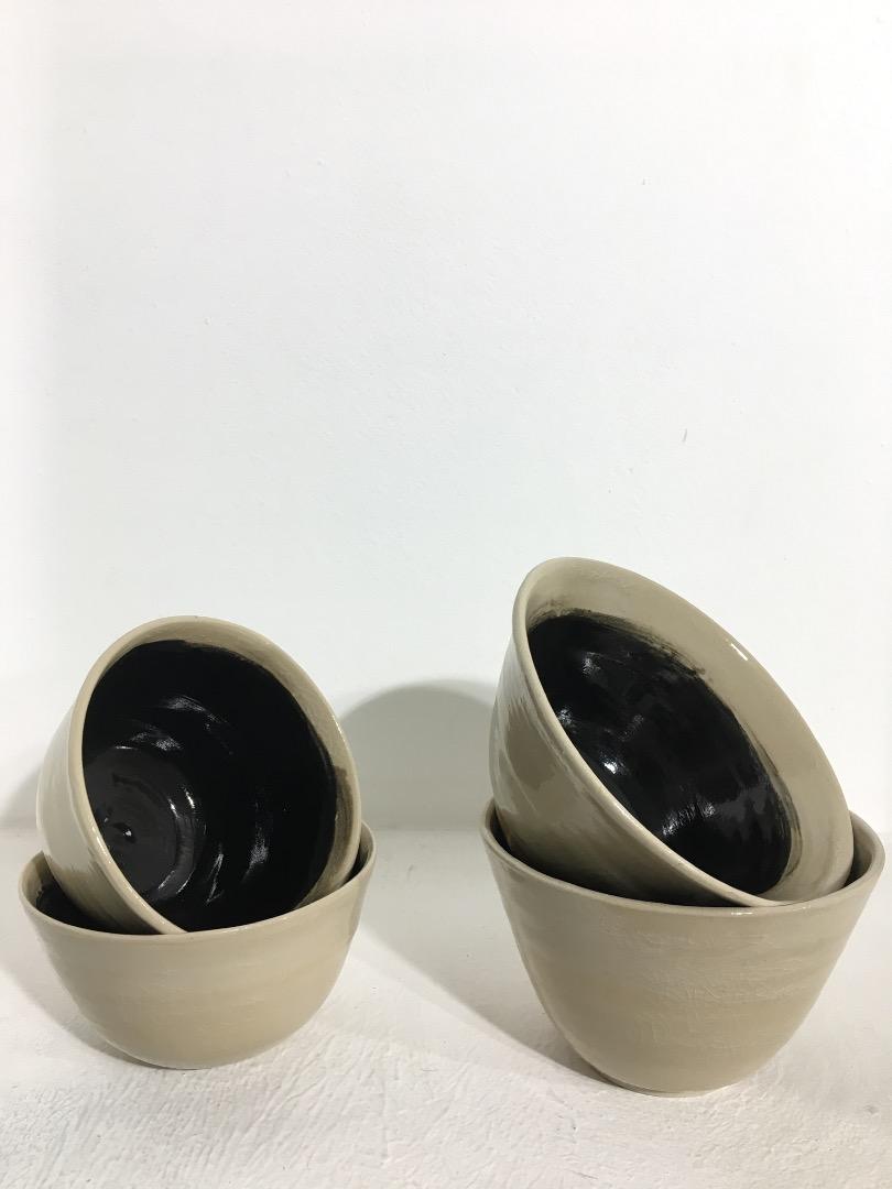 Bowl 14 cm - Cream / Black - 2