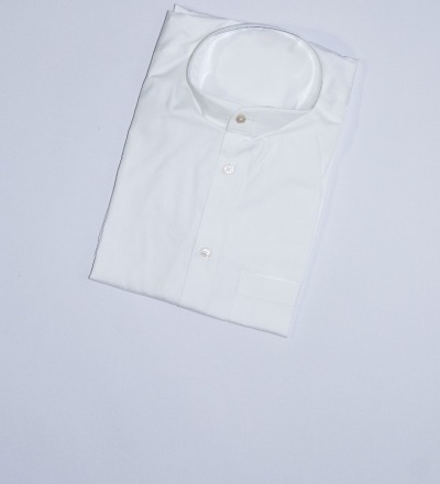 Mao Collar Shirt White GABRIEL STUNZ