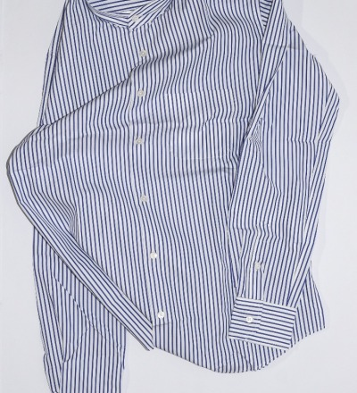 Mao Collar Shirt - White / Blue Stripes - GABRIEL STUNZ