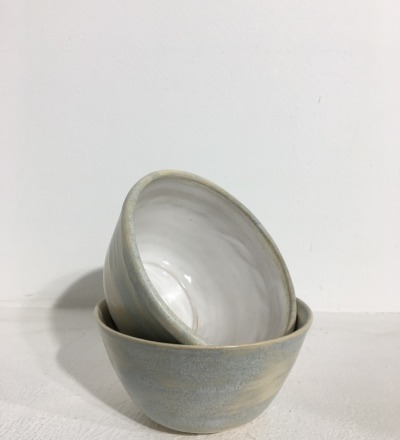 Bowl 12 cm - Cream, Light Blue / White - KIM CERAMICS