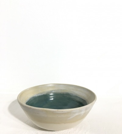 Bowl 14 cm - Cream / Teal - KIM CERAMICS
