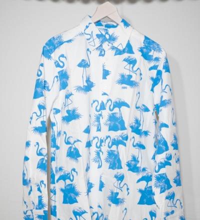 V5 Flamingo Shirt blue - V5 PARIS