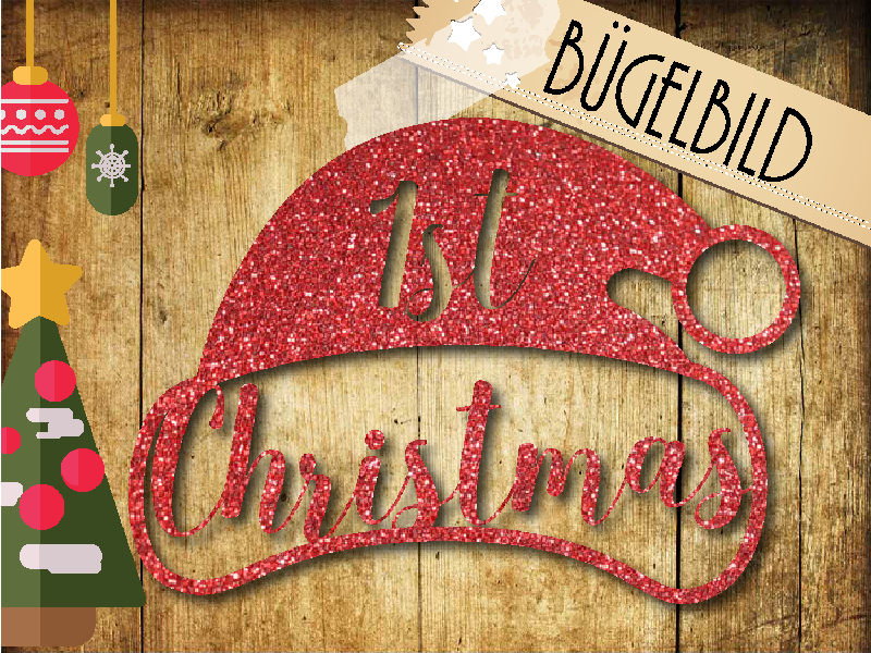 Glitzer Buegelbild 1st Christmas