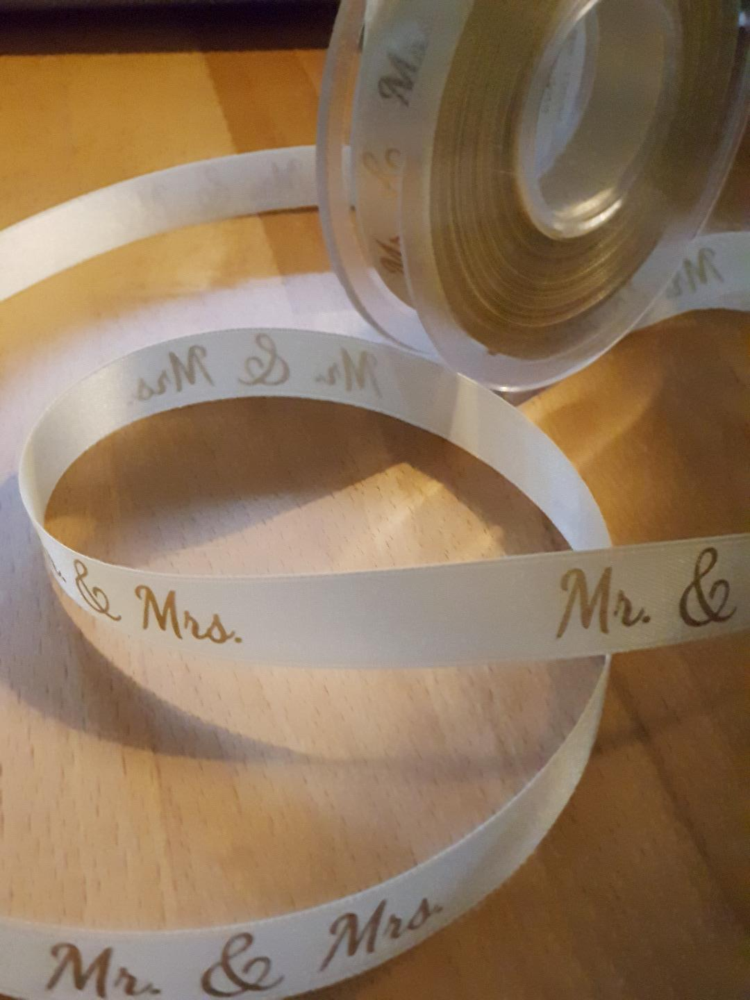 Dekoband Mr. and Mrs. 15mm Geschenkband Hochzeit Wedding Satinband