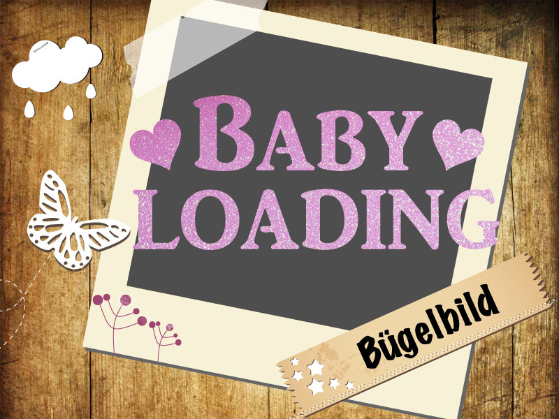 Glitzer Buegelbild Baby loading