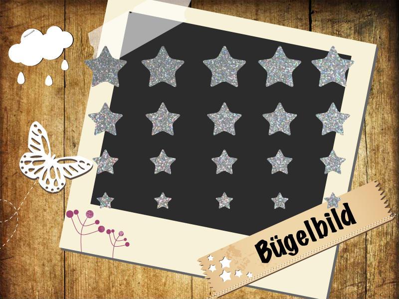 Glitzer Buegelbild 20 Sterne