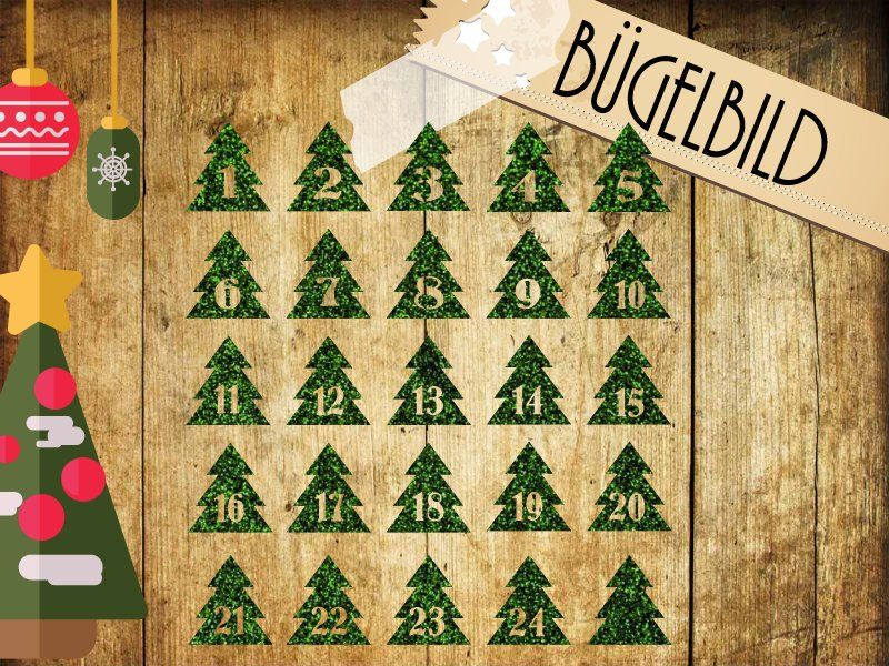 Glitzer Buegelbild Adventskalender