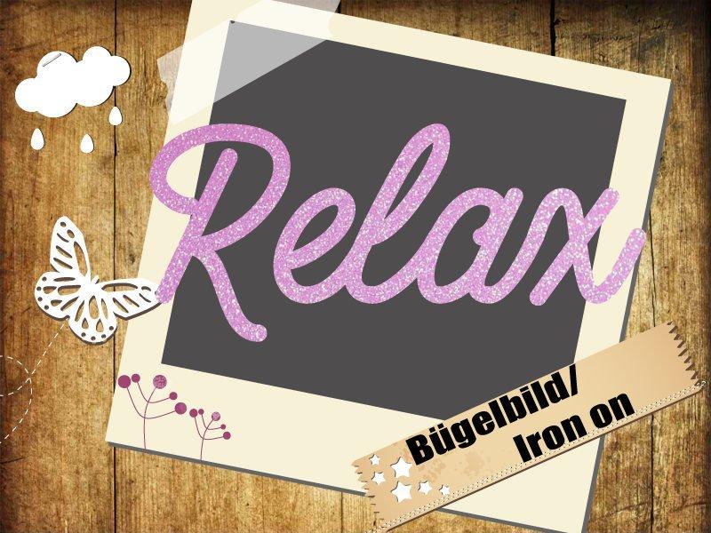 Glitzer/Velour Bügelbild Relax