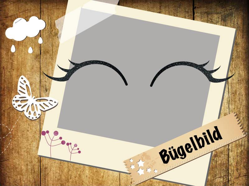 Glitzer Buegelbild Wimpern Eyelashes