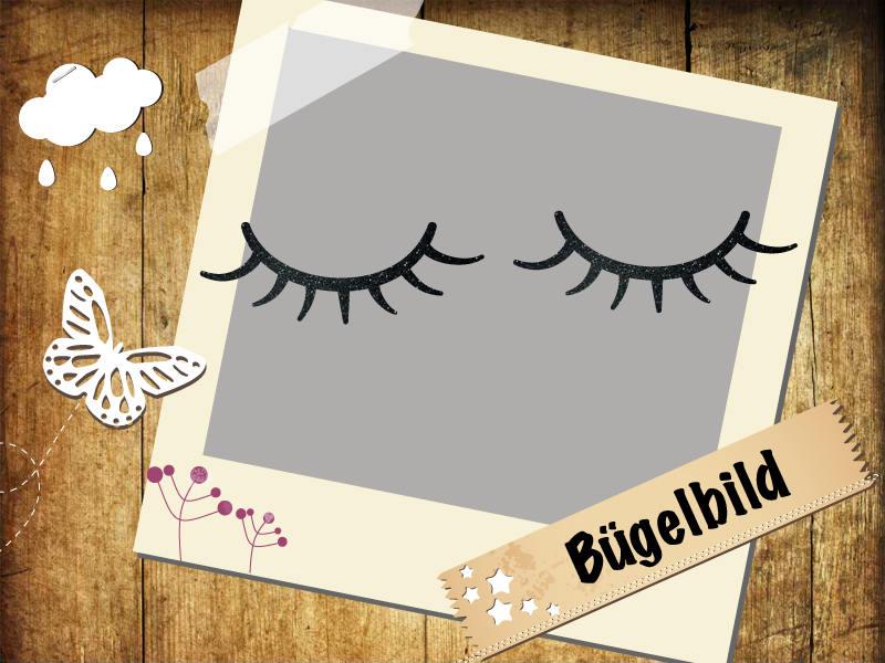 Glitzer Bügelbild Wimpern Eyelashes - 1