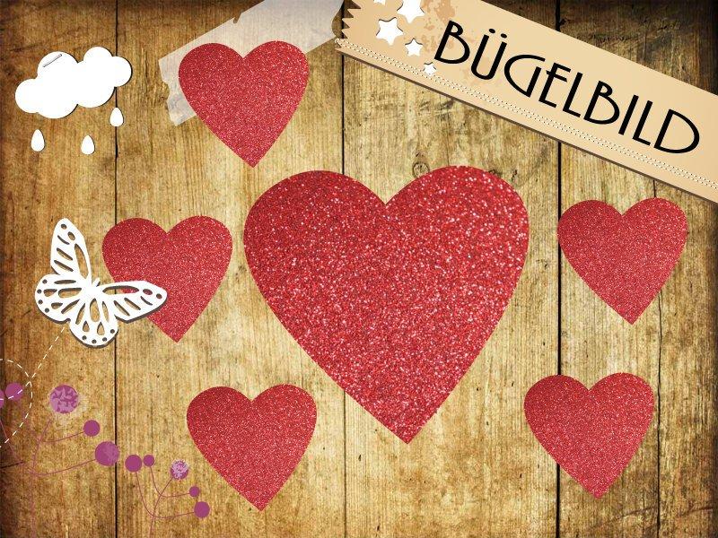 Glitzer Buegelbild 6 Herzen