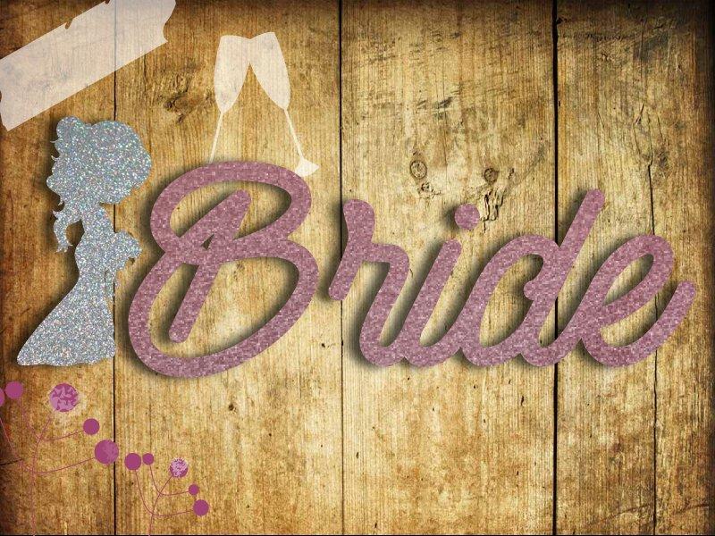 Glitzer Bügelbild Team Bride oder Bride mit Sektgläsern und Braut - 2
