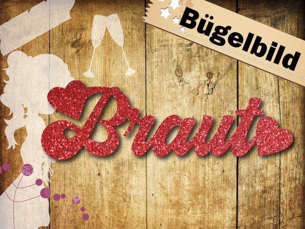 Glitzer Buegelbild Braut mit Herzen