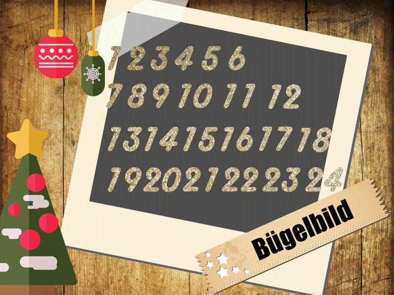 Glitzer/Flock Buegelbild Adventskalender Zahlen