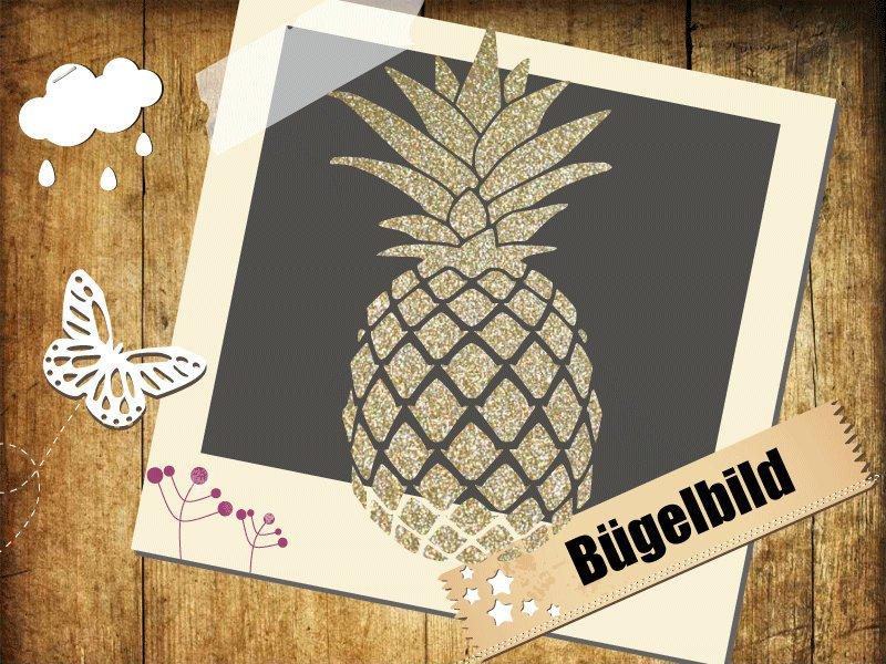 Glitzer/ Velour Bügelbild Ananas - 1