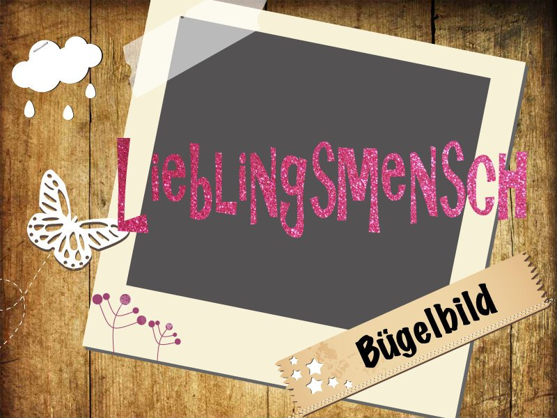 Glitzer/ Velour Bügelbild Lieblingsmensch - 1