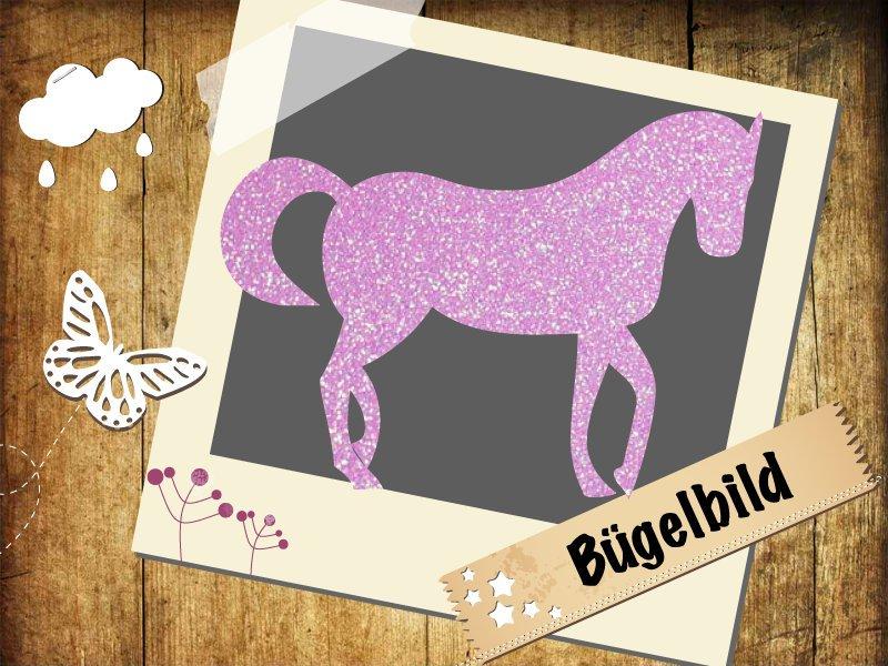 Flock/ Glitzer Buegelbild Pferd