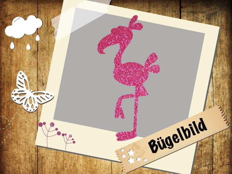 Glitzer/Flock Bügelbild Flamingo