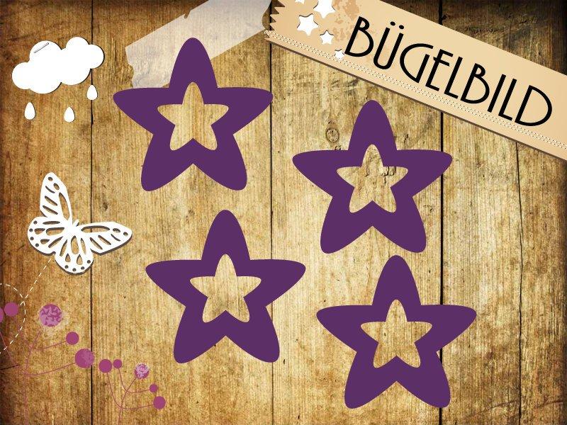 Glitzer Buegelbild 4 Sterne