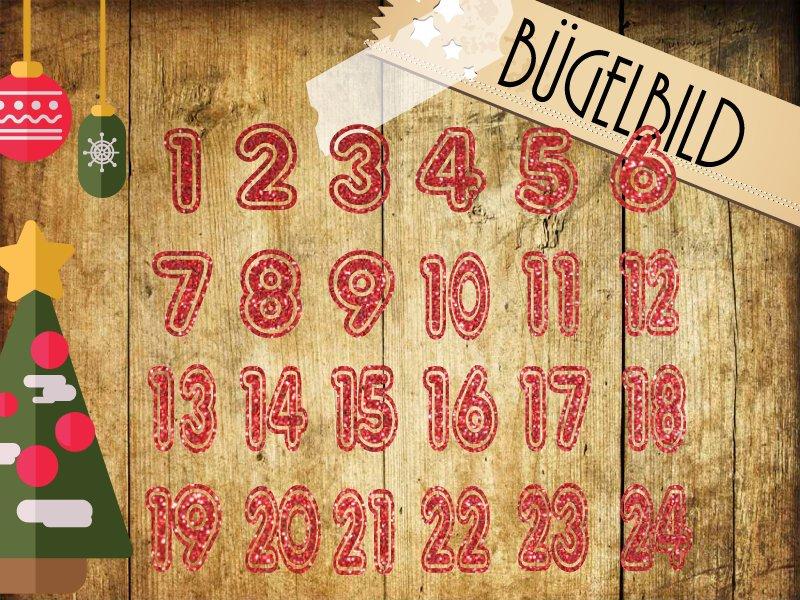 Glitzer/Flock Bügelbild Adventskalender Zahlen