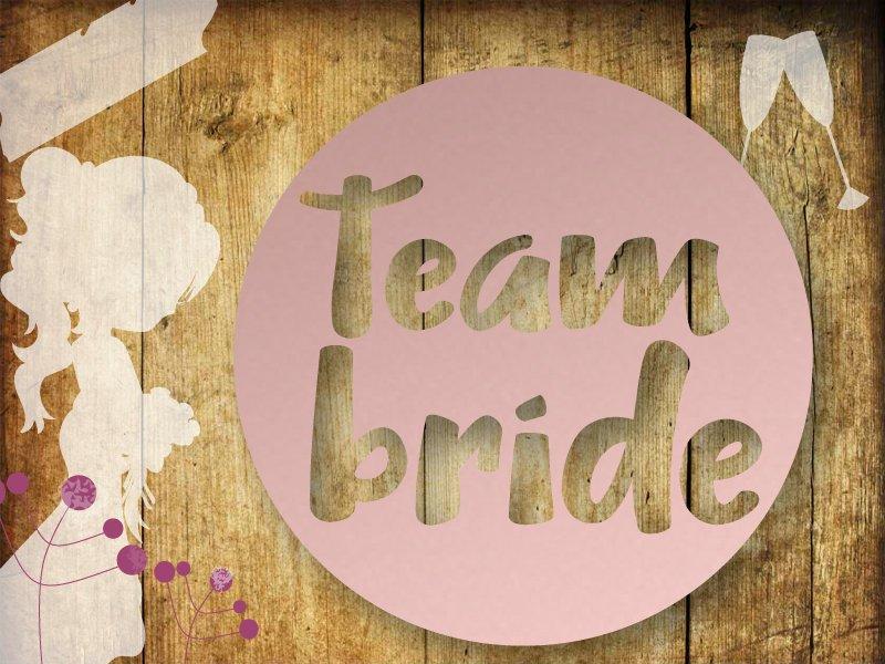 Glitzer/ Velour Bügelbild Team Bride