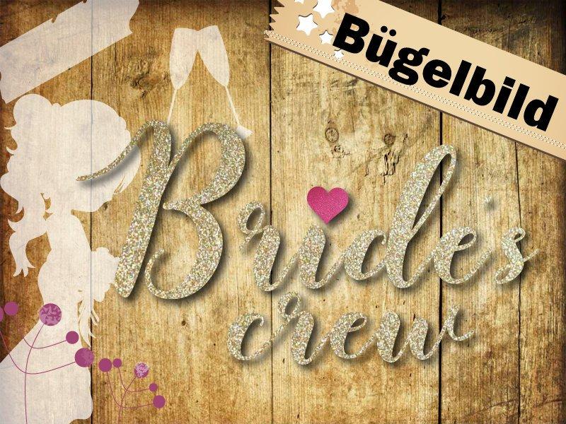 Glitzer/ Velour Buegelbild Brides crew