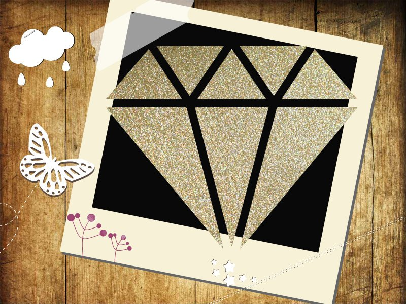 Glitzer/ Velour Buegelbild Diamant