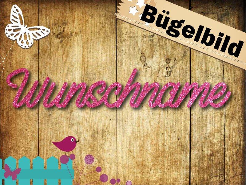 Glitzer/Flock Buegelbild Name