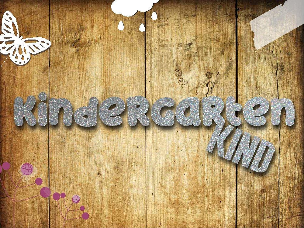 Glitzer Bügelbild Kindergartenkind