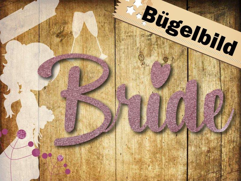 Glitzer Bügelbild Bride Squad oder Bride