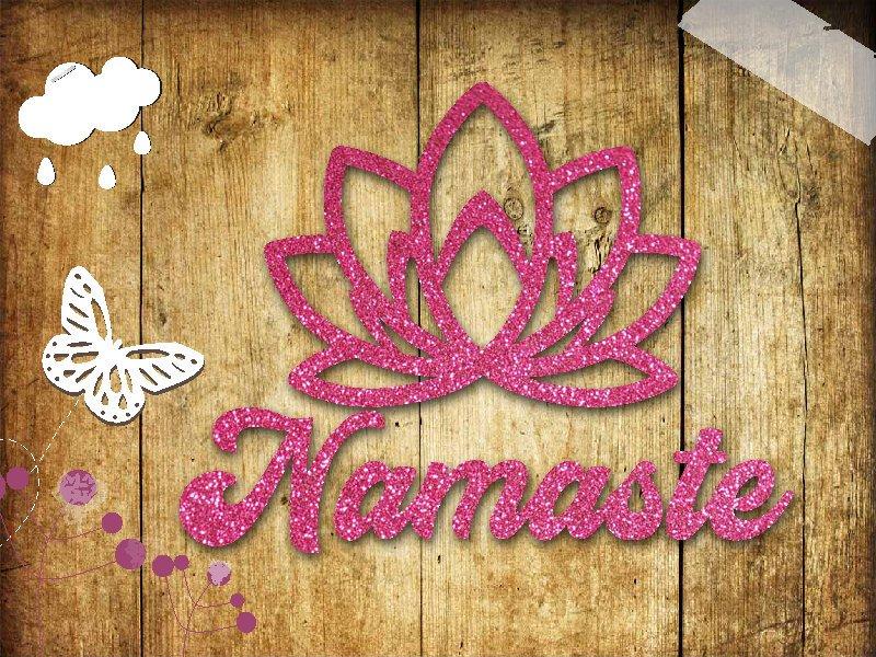 Glitzer Buegelbild Yoga Namaste