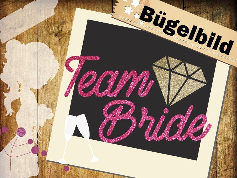 Glitzer/ Velour Buegelbild Team Bride mit Diamant