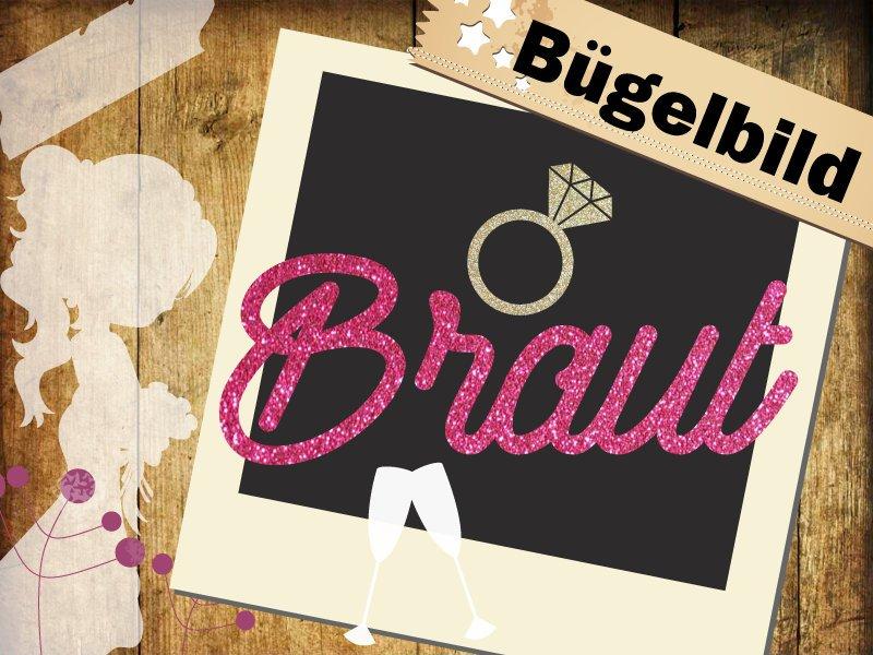 Glitzer/ Velour Bügelbild Braut mit Ring