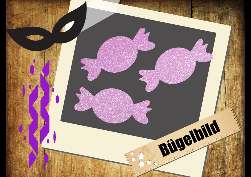 Glitzer/Flock Buegelbild 3 Bonbons