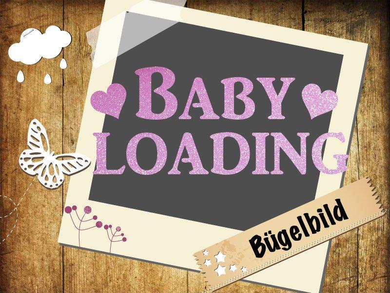 Glitzer/Flock Buegelbild Baby loading