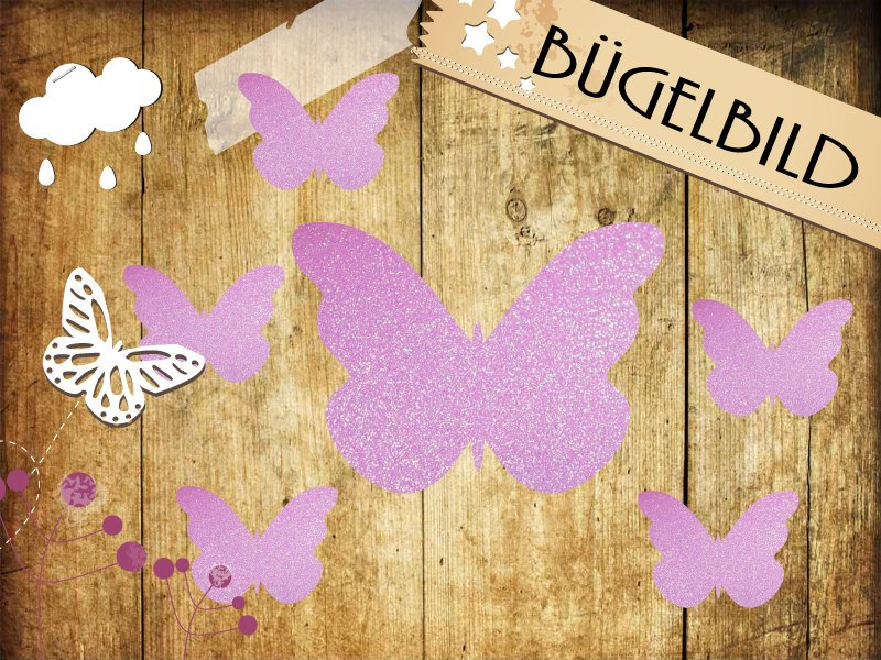 Glitzer/Flock Buegelbild 6 Schmetterlinge