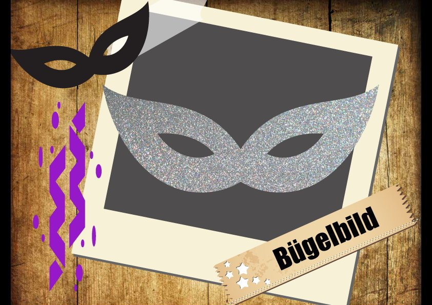 Glitzer/Flock Buegelbild Maske